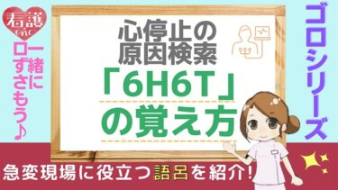 【ゴロシリーズ】心停止時の原因検索「6H6T」の覚え方!口ずさむだけで覚えられる!